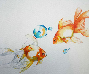 artistic, drawing, and watercolors image