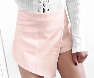 pink skirt and lace up top image