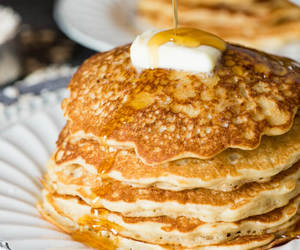 breakfast, pancakes, and sour cream image