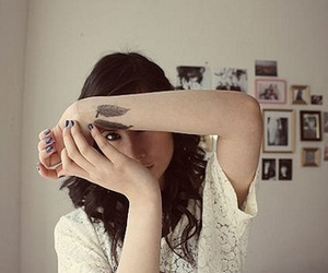tattoo, feather, and girl image