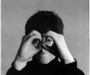 john lennon, beatles, and black and white image