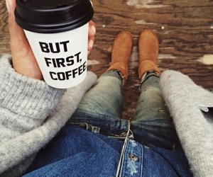 coffee, fashion, and fall image