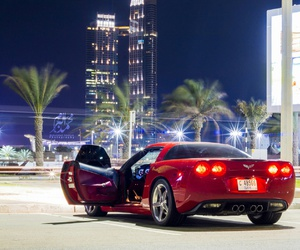 buildings, Corvette, and lights image