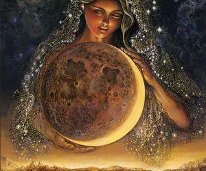 moon, art, and goddess image