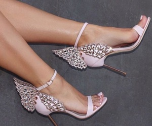 high heels, pink, and winged image