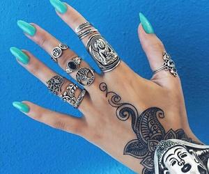 fashion, nails, and rings image
