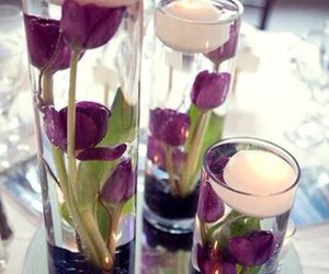 candle, centerpieces, and flowers image