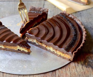 chocolate, tart, and caramel image