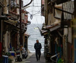 japan, man, and sea image