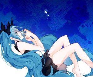 anime girl, blue hair, and hatsune miku image