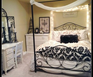 bed, black, and elegant image
