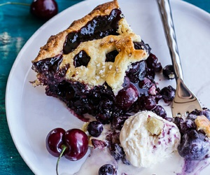 food, cherry, and pie image