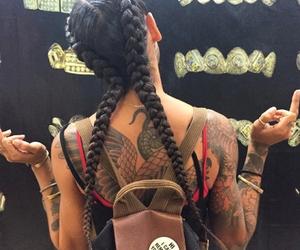 tattoo, girl, and braid image