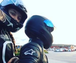 bikers, couple, and kawasaki image