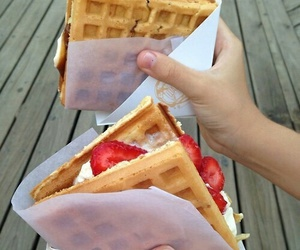food, waffles, and strawberry image