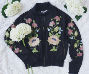 bomber, flowers, and black image