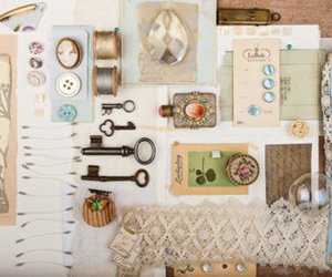 key, vintage, and lace image