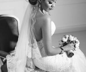 beauty, blackandwhite, and bride image