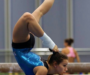gymnast, gymnastics, and balance beam image