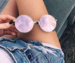 rose, summer, and sunglass image