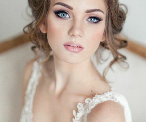 wedding, makeup, and bride image