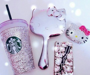 hello kitty, starbucks, and pink image