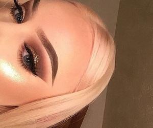blonde hair, eyelashes, and eyeshadow image