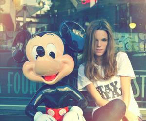 girl, mickey, and disney image