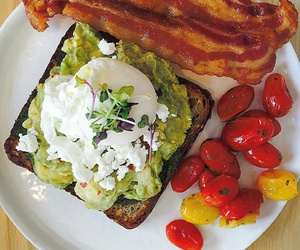 healthy breakfast, roasted tomatoes, and avocado on toast image