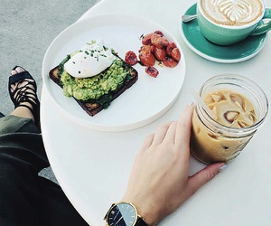 iced coffee, yummy breakfast, and healthy breakfast image
