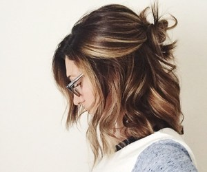 hair, hairstyle, and glasses image