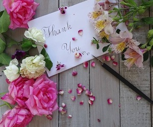 flowers, thank you, and whi image