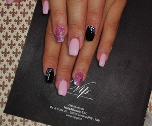black, nail, and pink image