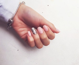 glitter, hand, and manicure image