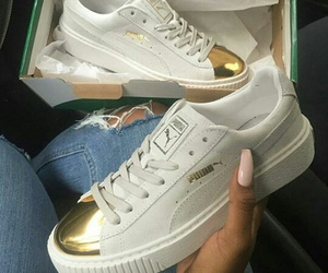 puma, shoes, and gold image