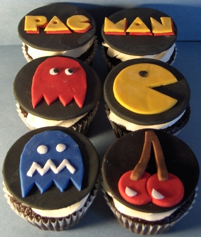 cupcakes, pacman, and video games image