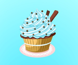 blue, cupcake, and wallpaper image