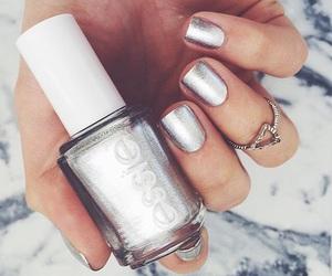 metallic, silver, and nail art image