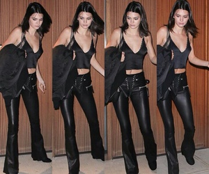 flare, leather, and kendall jenner image