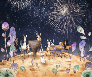 bunny, fireworks, and aeppol image