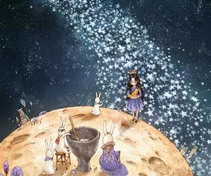 girl, moon, and wallpaper image