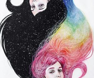 art, rainbow, and black image