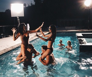 summer, friends, and pool image