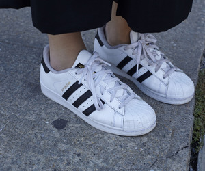white, adidas, and black image