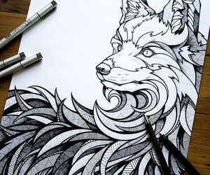 art, drawing, and wolf image