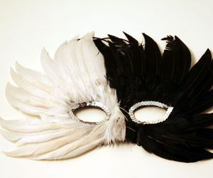 black, feather, and mask image