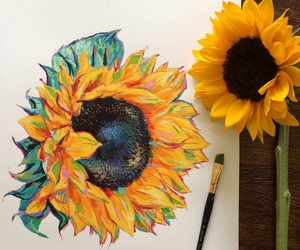 art, sunflower, and drawing image