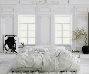 white, bedroom, and interior image