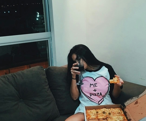 girl and pizza image