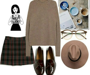 brown, hat, and outfit image